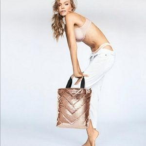 Victoria's Secret Rose Gold Quilted Tote Bag NWT